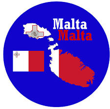 MALTA - MAP / FLAG - ROUND SOUVENIR FRIDGE MAGNET - BRAND NEW / GIFT