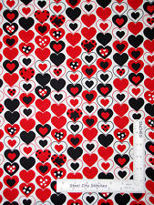 Multi Color Heart Love Romance White Cotton Fabric Kanvas Studio Luv Bugs - Yard