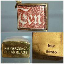 Vintage 9ct 9 carat Gold Charm Emergency Ten Shilling Note bracelet Charm