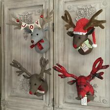 christmas reindeer head wall sculpture decoration fabric stag vintage retro deer