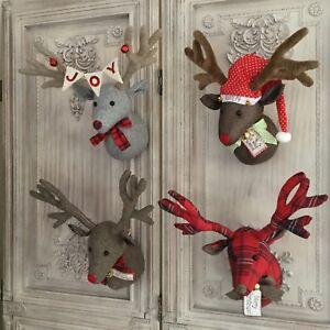 Christmas Reindeer Head Wall Sculpture Decoration Fabric Stag Vintage Retro Deer