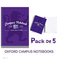 Oxford Campus Wirebound Notebook A5 Size, Purple, Pack Of 5, Student, Freepost