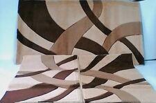 Tappeto Moderno tre pezzi. Mod.Twist Carvino Beige/Marrone N275