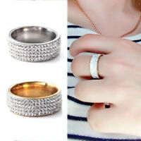 1PC 5 Rows Crystal Rhinestone Stainless Steel Ring Band Women Jewelry Size 7-12