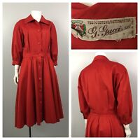 RARE Vintage 1980s Gucci Scarlet Colored Cotton Shirtdress Fit and Flare Italy S