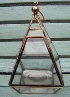 Pyramid Copper Tone / Glass Terrarium Succulent Bonsai Planter Hanging Display