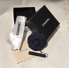 Authentic Chanel camellia brooch/pin Navy Blue/black Tweed