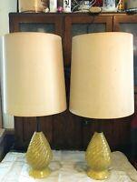 Vtg Mid Century Danish Modern Ceramic and Teak Lamp Butterscotch Gold Flecked