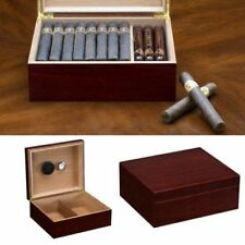Cigar Humidor Wooden Box Cedar Cherry Wood Case Hygrometer Humidifier Included