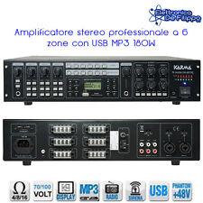 AMPLIFICATORE STEREO PROFESSIONALE 100V 180W A 6 ZONE CON USB MP3 PAA660TMZ