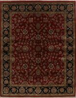Floral Agra Oriental Hand-Knotted Red/Black Wool Area Rug Home Decor Carpet 8x10