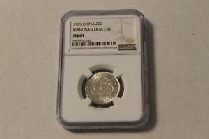 """China Kiangnan 20 cents 1901 """"No HAH"""" NGC MS64 @ low start"""