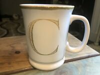 Williams Sonoma Initial C Monogram White Gold Shaving Style Coffee Mug Cup HTF