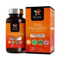 Saw Palmetto Palmier Nain en Capsules 3000mg avec Zinc 15mg |Support de Prostate
