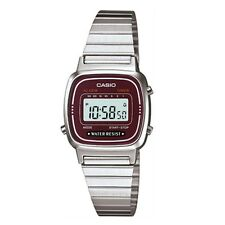 Casio Women's  illuminator Silver Stainless-Steel Quartz Watch Red  LA670WA-4DF