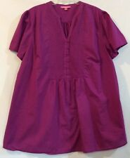 ca2508b6bfc New ListingWoman Within L Purple Short Sleeve Pintuck Cotton Top Blouse