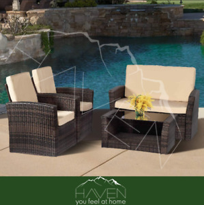 Rattan Patio Furniture Sets Double Sofa Two Chairs Glass Coffe Table Brown 4 Pcs