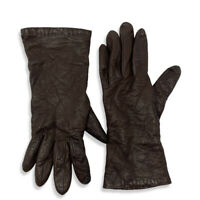 Henri Bendel Brown Leather Gloves Cashmere Lined Size 7