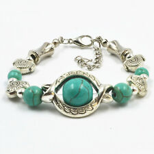 Vintage Tibetan Silver Plated Bracelet Turquoise Inlay Fish Bead Adjust Bangle