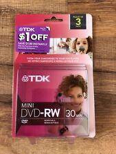 TDK Mini DVD-RW Camcorder DVD Computer 30 Min Rewritable Disk 3 Pack New Sealed