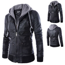 Men's Long-sleeve Zipper PU Leather Removable Cap Hooded Jacket Coat Winter Warm