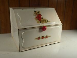 Vintage Metal 2 Compartment Bread Box Pie Safe Country Farmhouse Kitchen