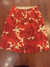 Jcrew Floral Red/white Wool Skirt Size 0/XS