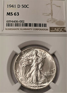 1941-D WALKING LIBERTY NGC MS63 =FROSY WHITE BRIGHT LUSTER 👀