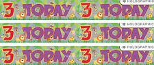 3RD BIRTHDAY/ AGE 3 BIRTHDAY JUNGLE ANIMALS MULTI COLOUR FOIL BANNER (EW)