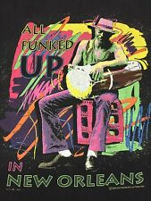 Vintage Funked Up New Orleans T-shirt Thin Soft Drum Jazz Blues Music Cajun Band