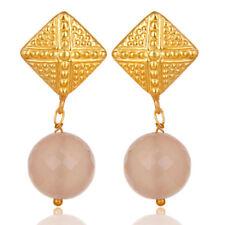 Handmade Chalcedony Brass Earrings Gold Plated Elegant Fashion Jewelry