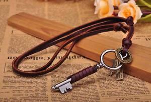 N221 Brown Surfer Vintage Key Pendant Leather Cord Long Necklace Men's NEW