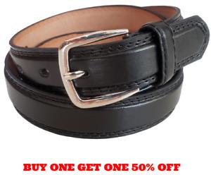 Men's Leather Casual Dress Plain Black Belt Silver Buckle Sizes S / M / L / XL