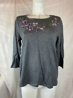 Karen Scott Women's Medium Gray Sweater Floral Embroidery NEW #67