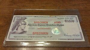 "$50 US American Express Traveler Check ""SPECIMEN"" Mint  Lot #2"