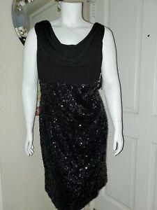 Onyx Nite Women's Plus Size Sequin Cocktail Dress Size 22W Black