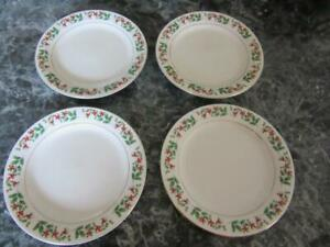 "GIBSON HOLIDAY GOLD FOUR SALAD PLATES BLUE BACKSTAMP 7"" HOLLY BERRIES"