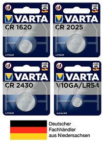 Varta Knopfzellen CR1620 CR2025 CR2430 V10GA LR54 Batterien neueste Produktion