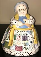 1974 Brush Pottery Patchwork Dress Granny Grandma Grandmother Cookie Jar Signed
