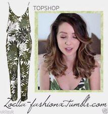 Topshop Celebrity Blogger Palm Leaf Print Tropical Jumpsuit Playsuit - Size 6