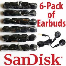 6 SanDisk Earphone Earbuds GENUINE Black In-Ear Headphones 4 MP3 Player Clip Jam