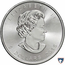 2015 1 oz Canada Silver Maple Coin (BU) with Light Spotting
