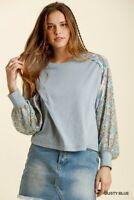 Umgee Bohemian Floral Print Raglan Sleeve Top Size S M L