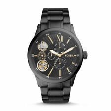 "Fossil BQ2220 NEW 48 ""FLYNN"" Mechanical Multi-Function Black PVD Watch"