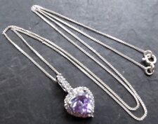 vintage 925 STERLING SILVER purple stone heart pendant chain necklace -C714