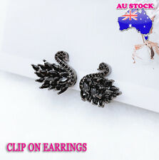 18K White Gold Plated Black Swan Pave Black Crystal Feather Clip On Earrings