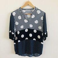 Trenery XS, 8,  Polkadot / Blue & White Spot Blouse/Shirt/ Top, Capped Sleeve
