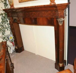 Mahogany Fireplace Mantle Regency Hand Carved Surround