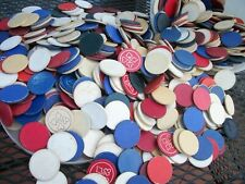 Lot of Vintage Wooden Clay Plain Poker Chips 5lbs. 5 quart pail Hundreds CRAFT