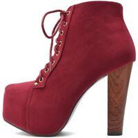 Damen Stiefeletten Plateau Boots High Heels Pumps Rot Samt Holz Absatz Style
